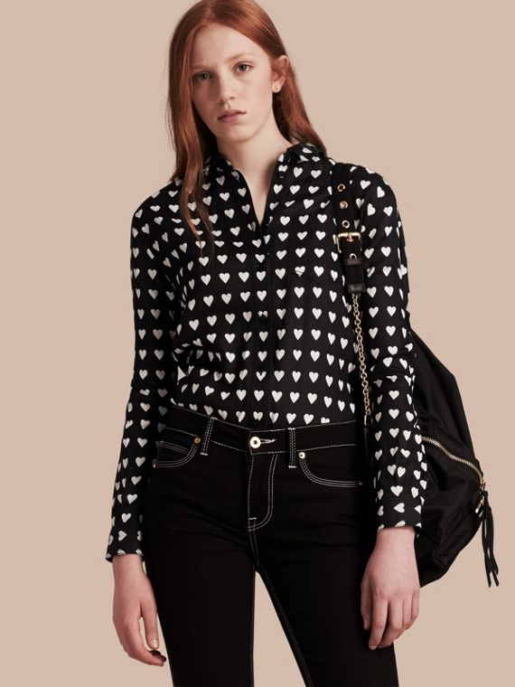 Heart Print Linen Shirt in Black - Women | Burberry