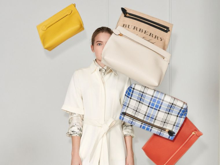 Grainy Leather Wristlet Clutch in Natural White/orange Red - Women | Burberry Australia - cell image 4