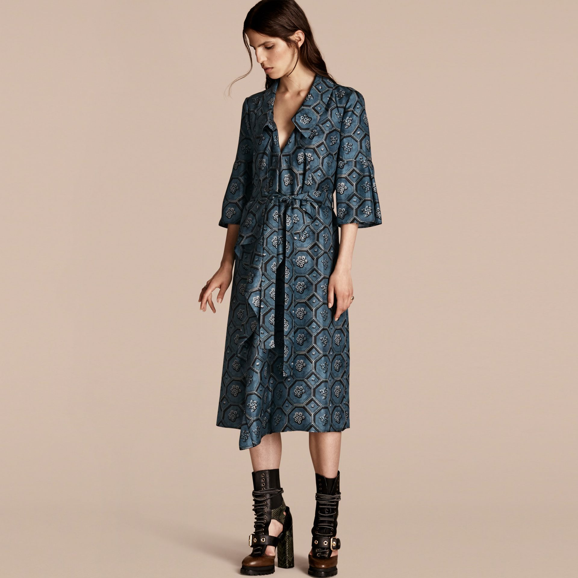 Dark mineral blue Wallpaper Print Silk Twill Wrap Trench Dress - gallery image 1