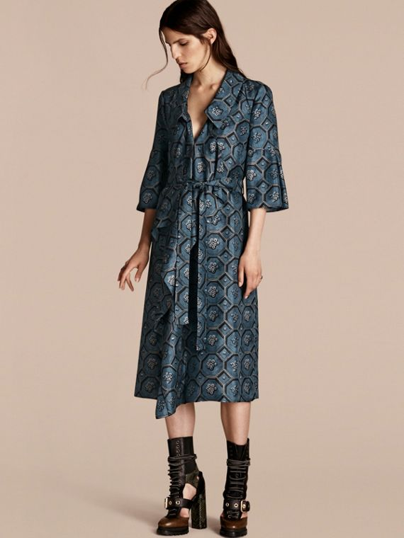 Wallpaper Print Silk Twill Wrap Trench Dress