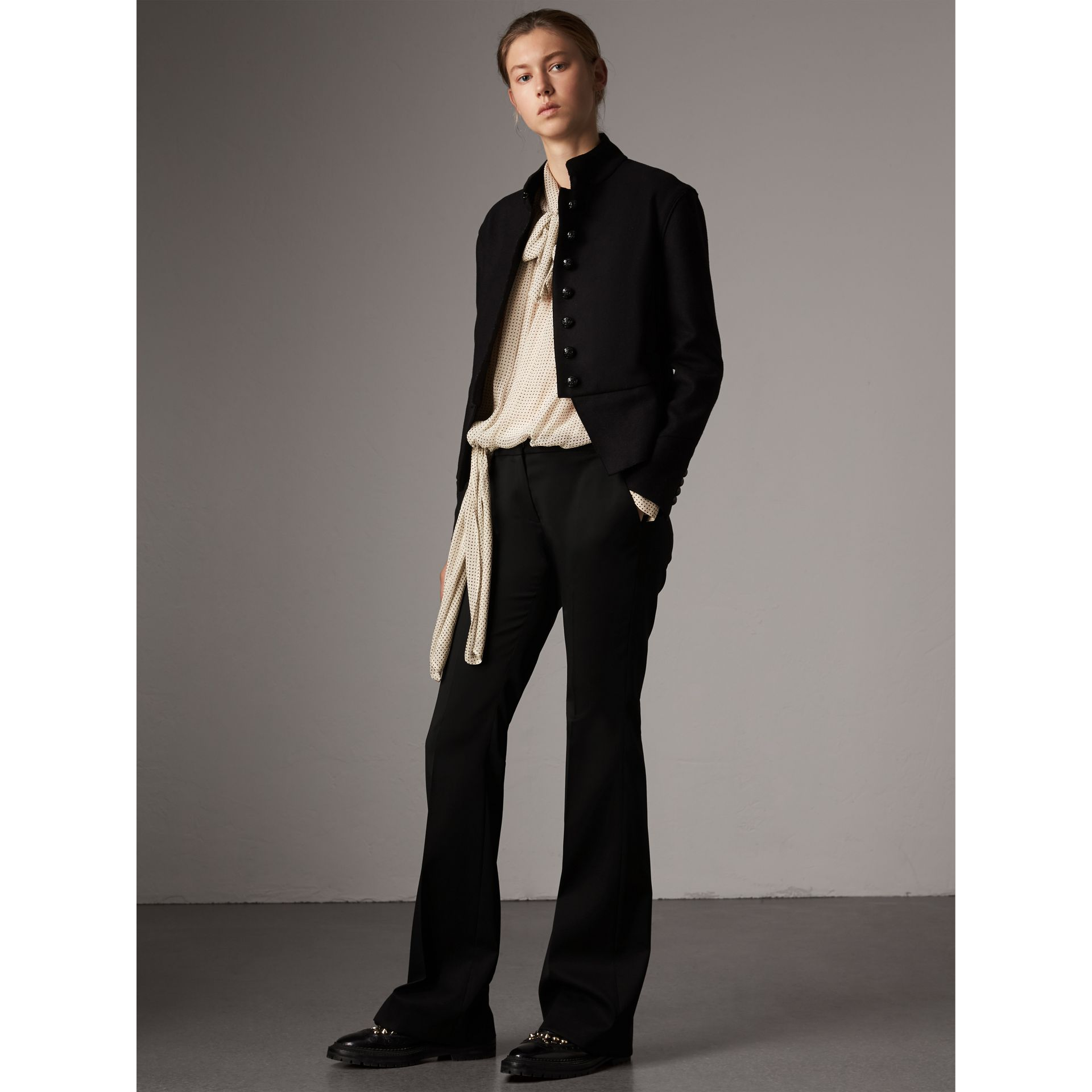 Wide-leg Wool Tailored Trousers in Black - Women | Burberry United Kingdom - gallery image 1