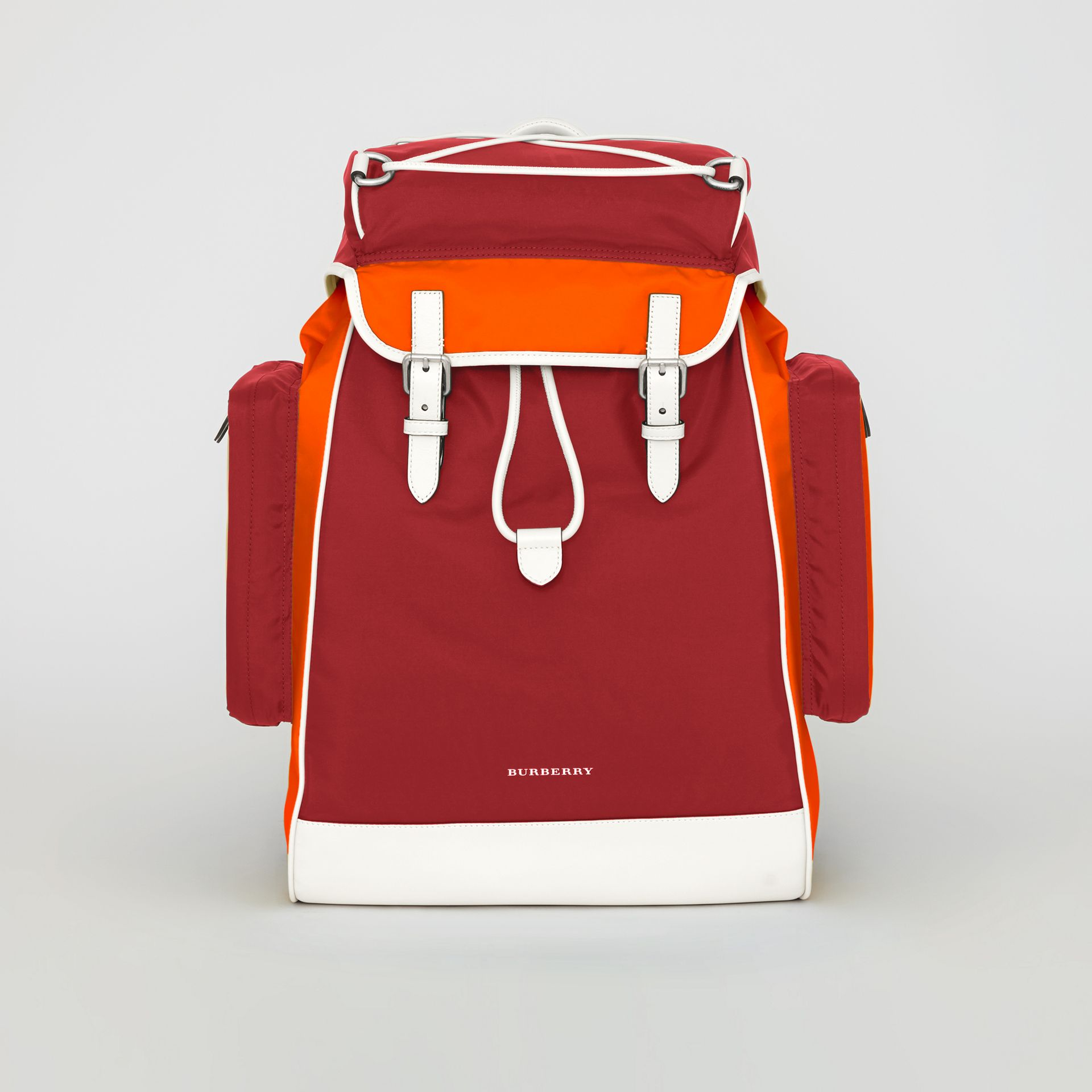 Tri-tone Nylon and Leather Backpack in Parade Red - Men | Burberry Australia - gallery image 0
