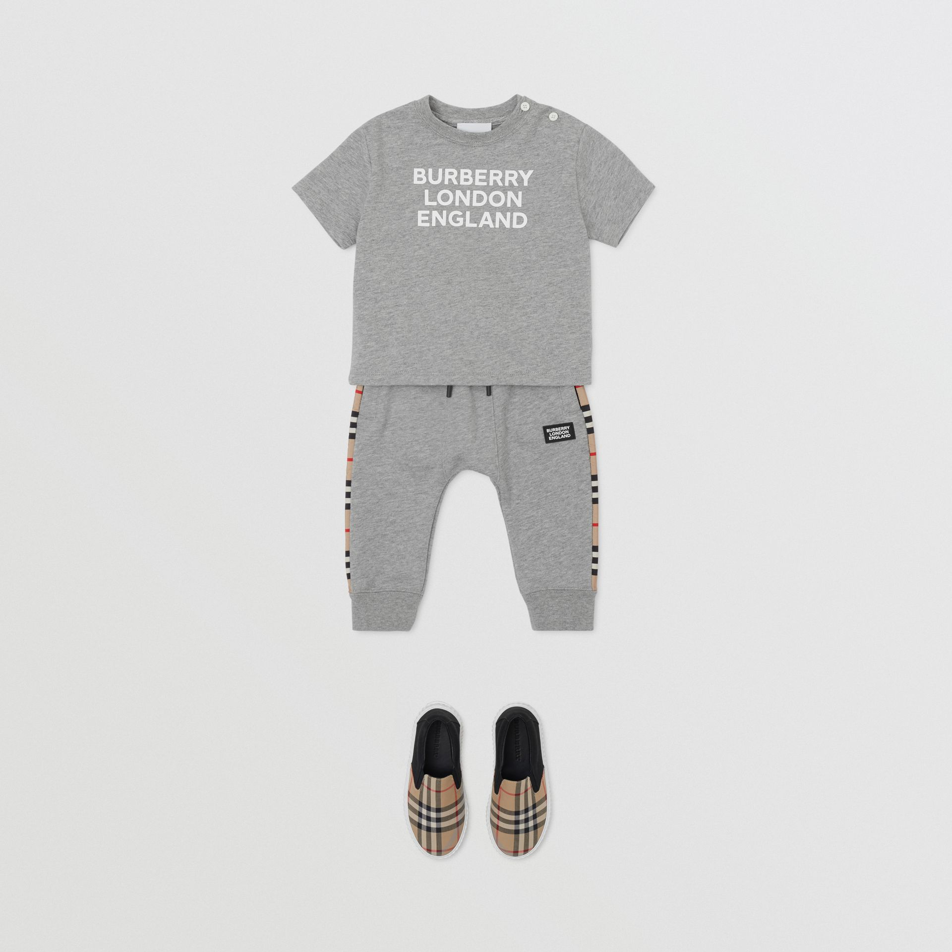 Logo Print Cotton T-shirt in Grey Melange - Children | Burberry - gallery image 3
