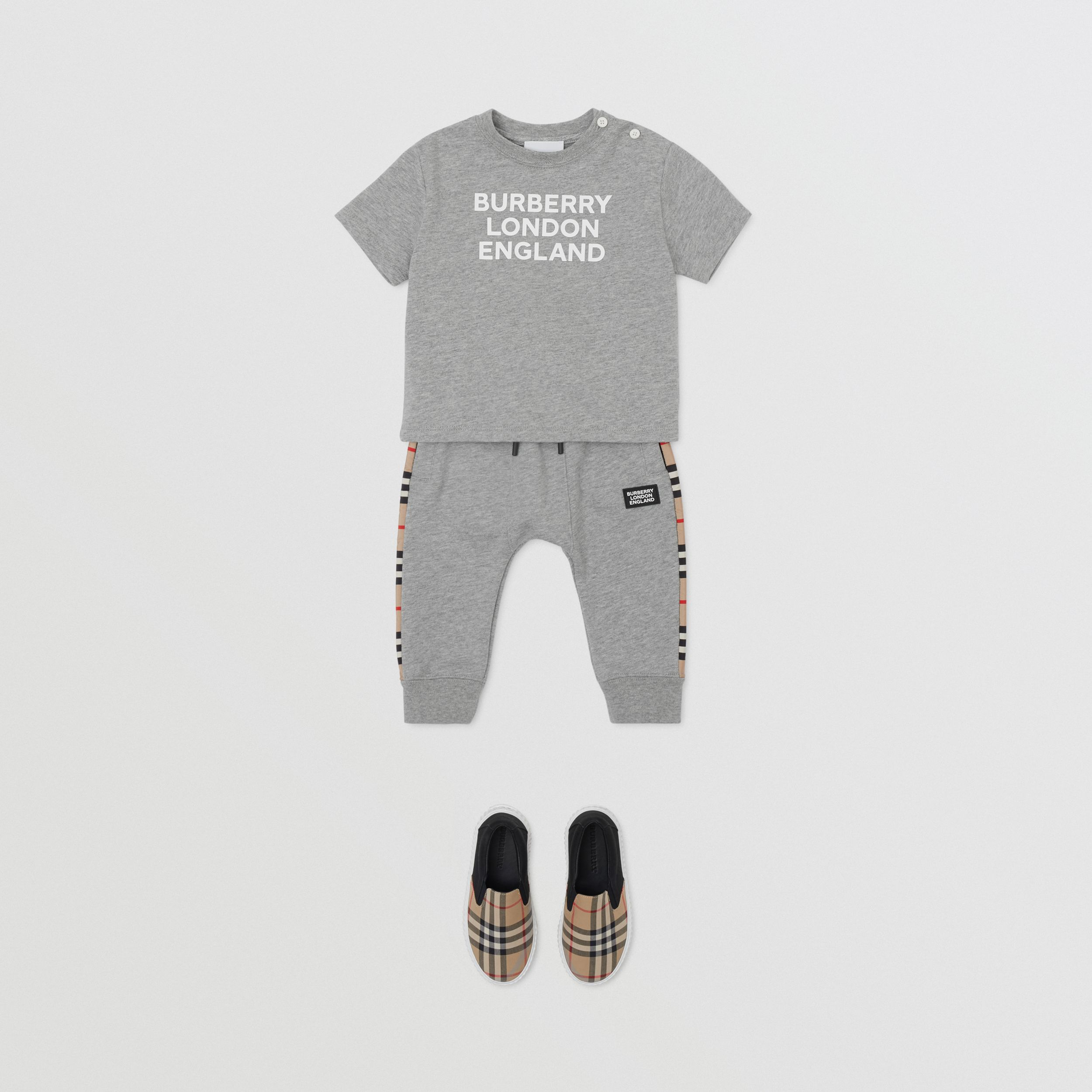 Logo Print Cotton T-shirt in Grey Melange - Children | Burberry - 4