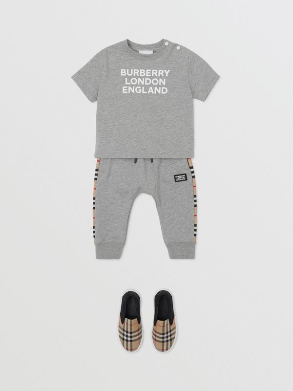 Logo Print Cotton T-shirt in Grey Melange - Children   Burberry United Kingdom - cell image 3