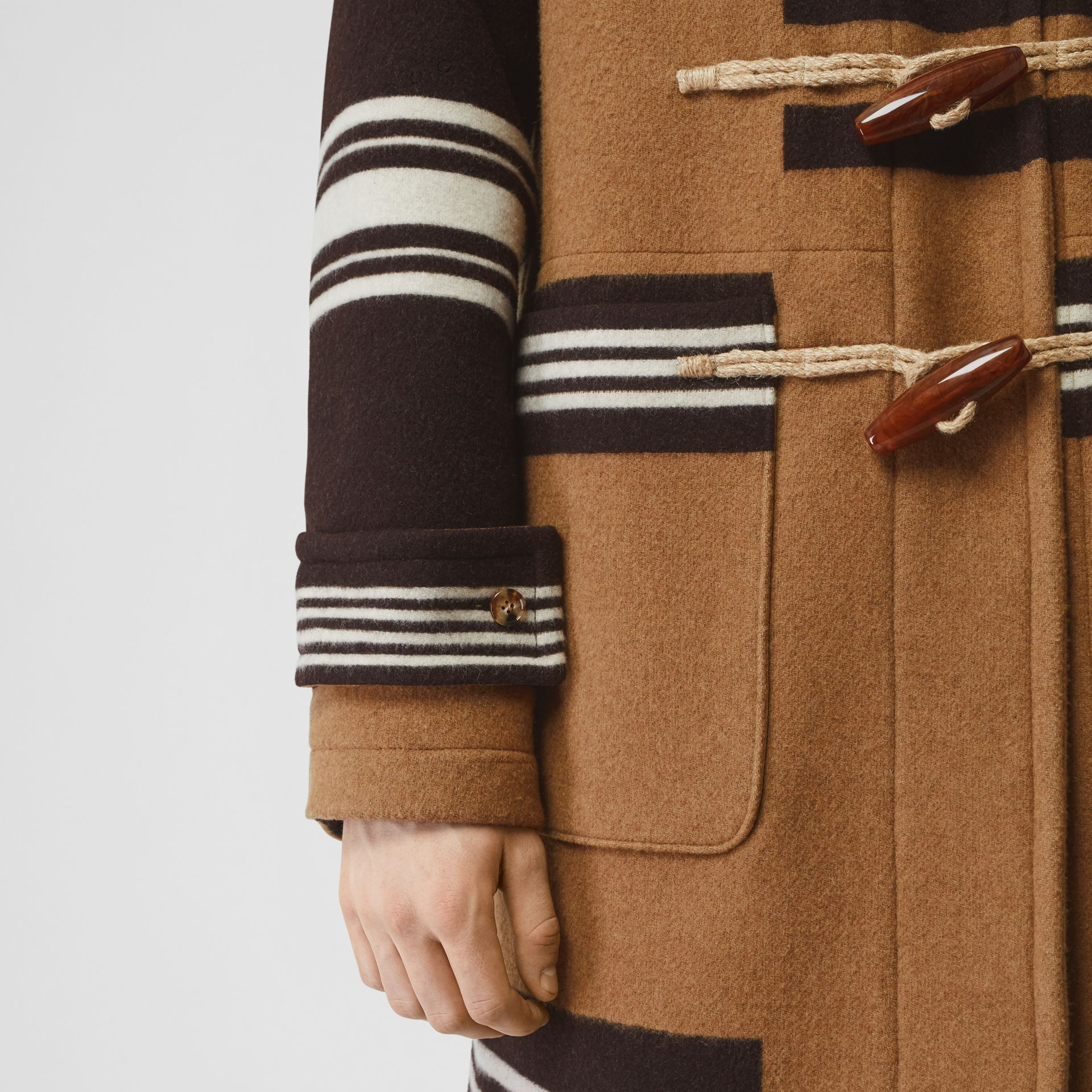 Stripe Detail Wool Duffle Coat in Camel - Men | Burberry - gallery image 3