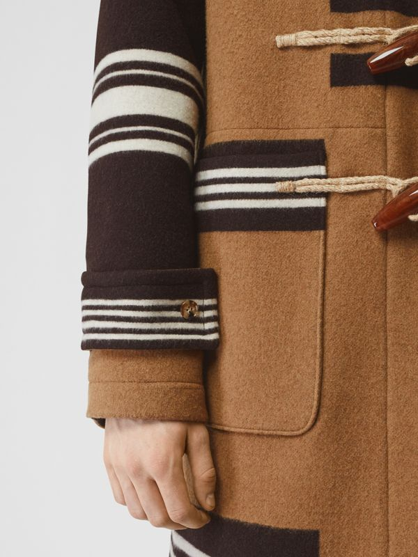 Stripe Detail Wool Duffle Coat in Camel - Men | Burberry Hong Kong S.A.R - cell image 3