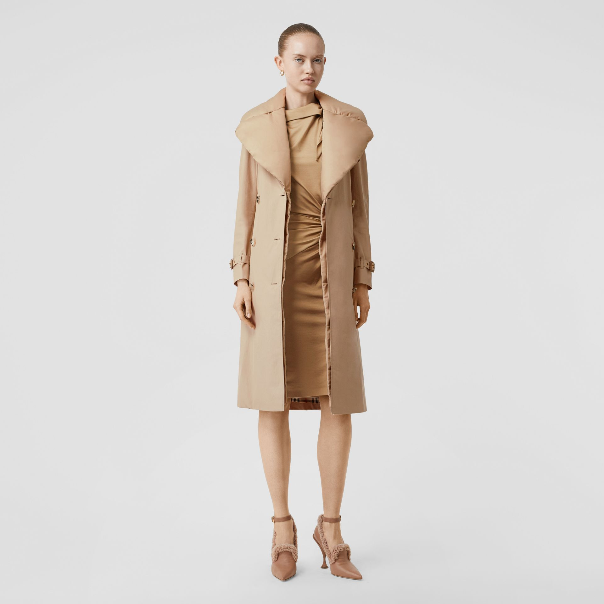 Detachable Collar Cotton Gabardine Trench Coat in Ecru - Women | Burberry United Kingdom - gallery image 0