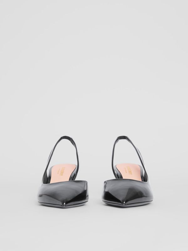 Leather Slingback Pumps in Black - Women | Burberry - cell image 3