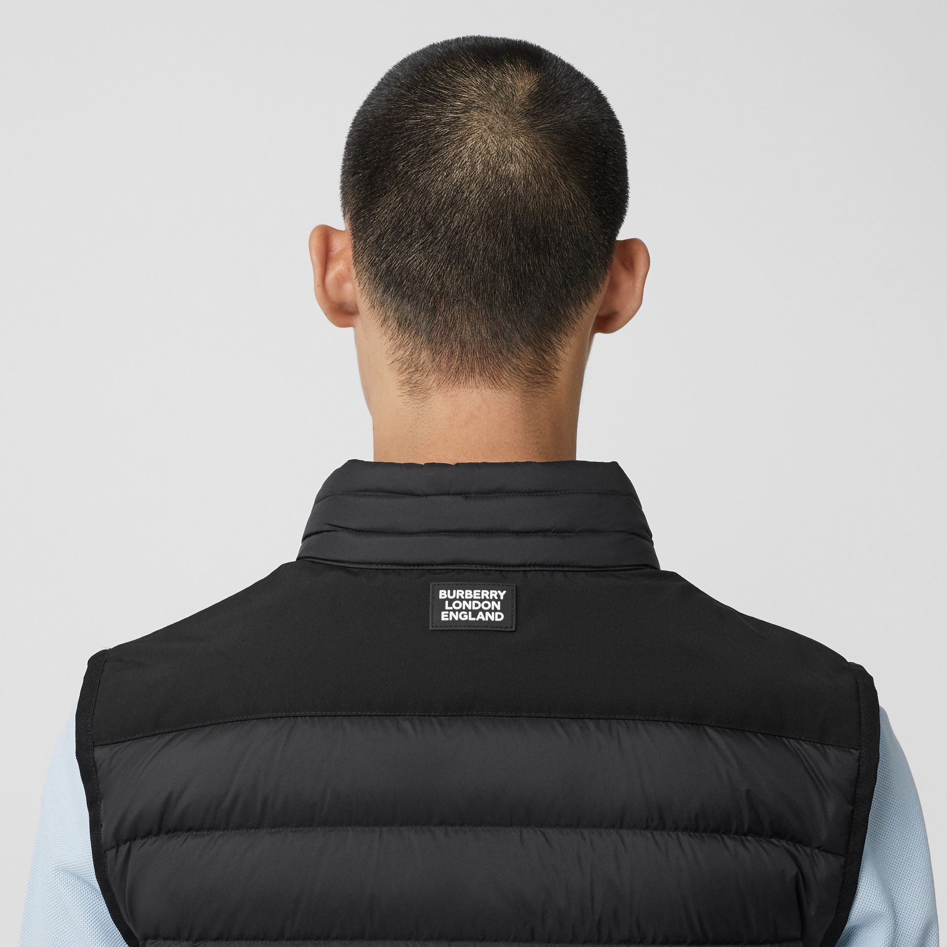 Logo Graphic Puffer Gilet in Black - Men | Burberry - gallery image 1