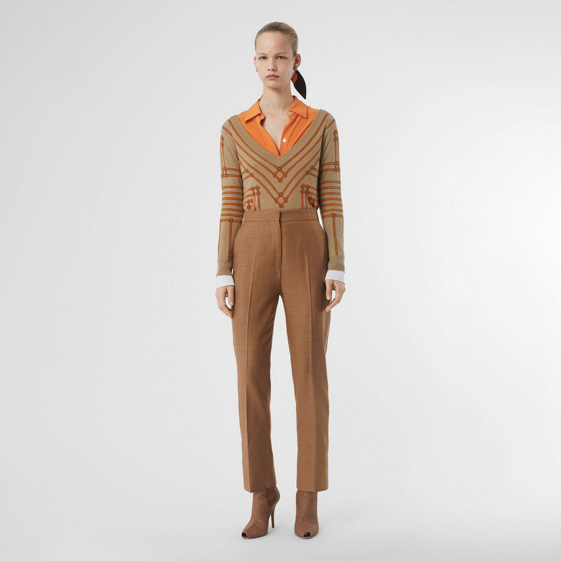 Wool Silk Mohair Linen Tailored Trousers in Bronze - Women | Burberry United States - gallery image 0