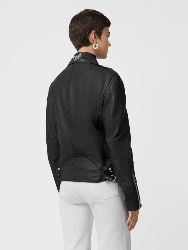 Bullion Floral Lambskin Biker Jacket in Black - Women | Burberry - cell image 2