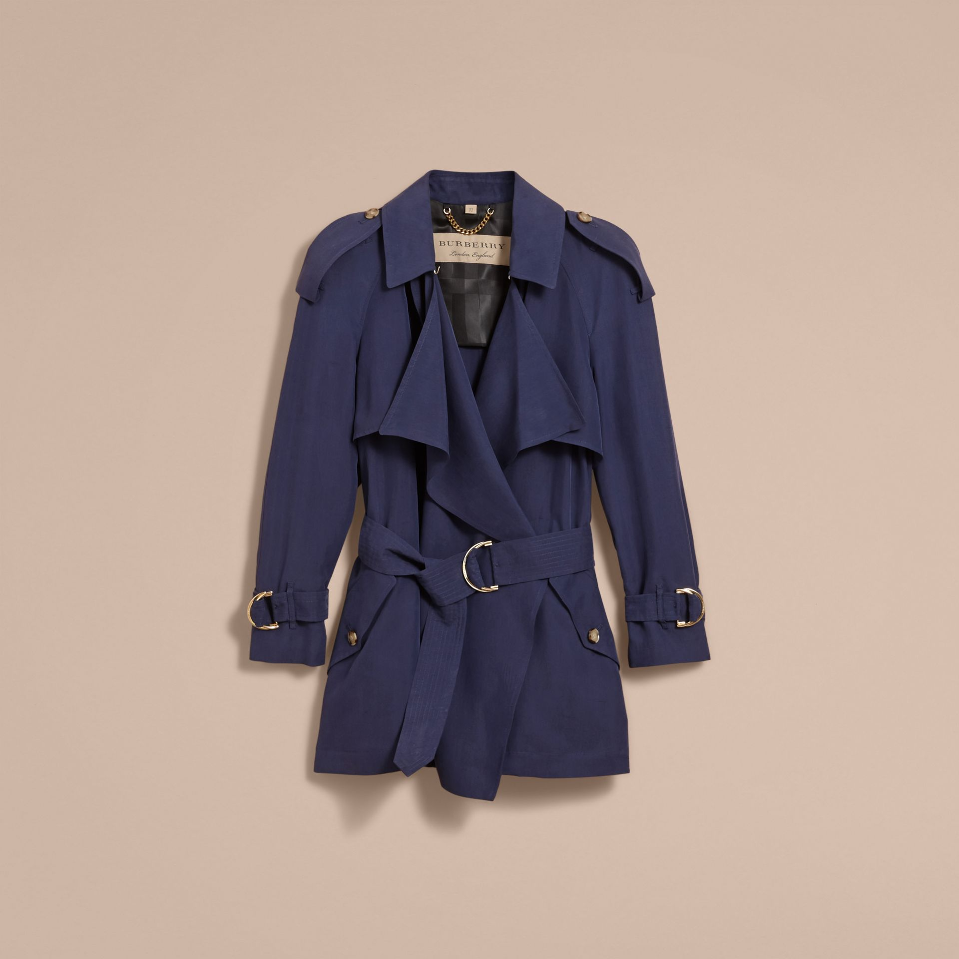 Silk Wrap Trench Coat Navy - gallery image 4