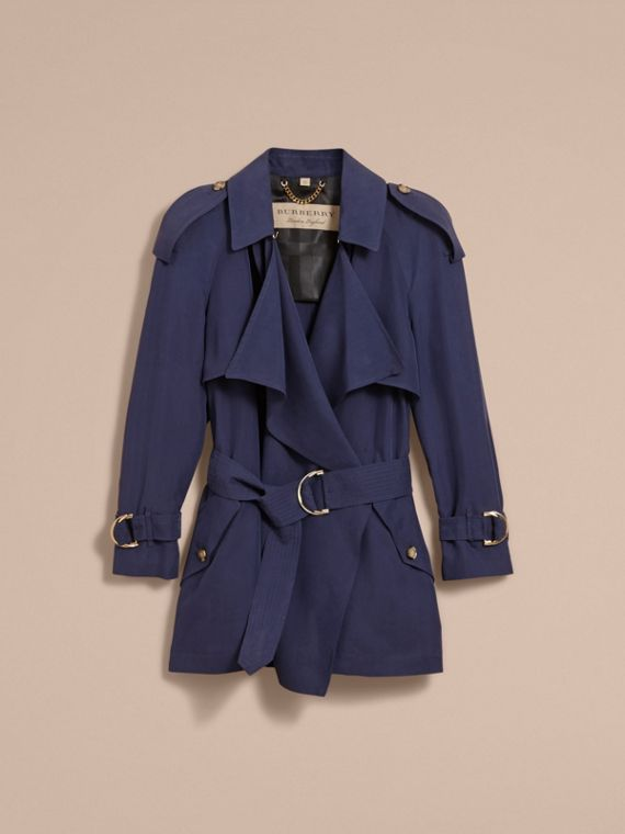 Silk Wrap Trench Coat Navy - cell image 3