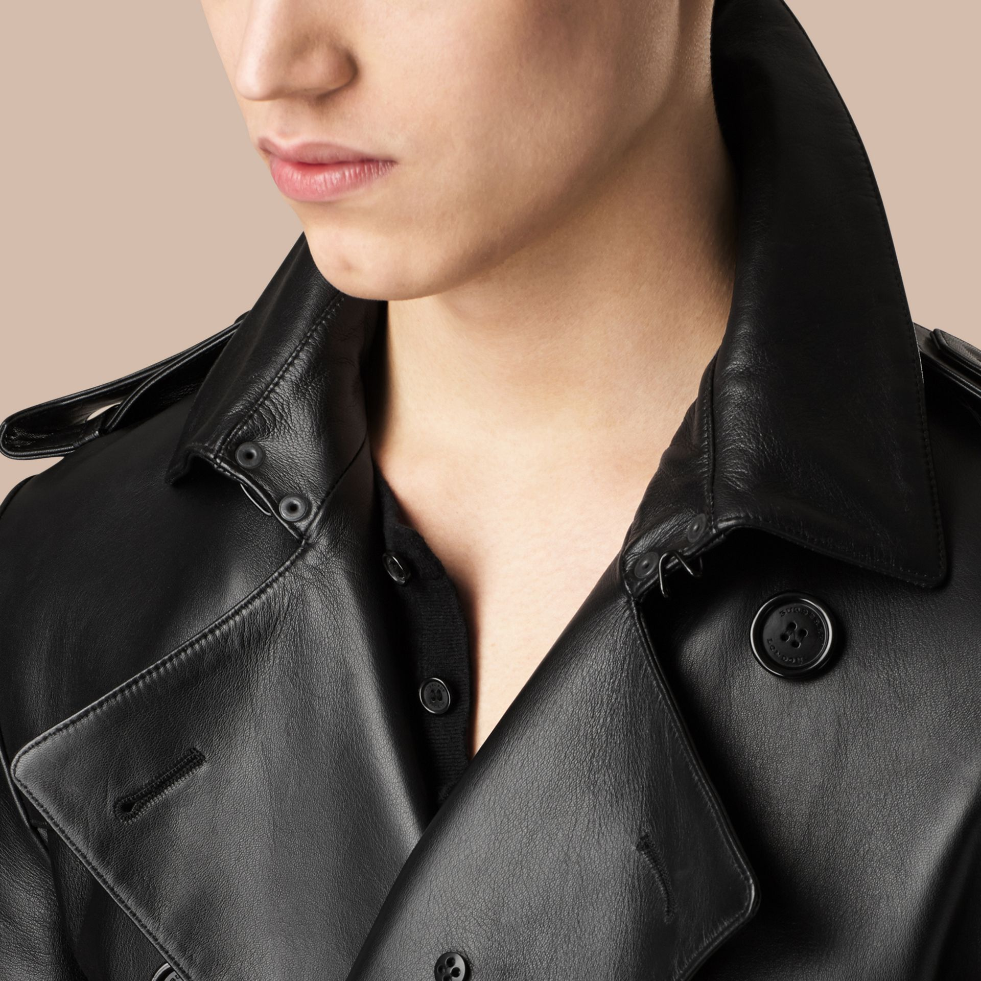 Black Mid-length Lambskin Trench Coat - gallery image 5
