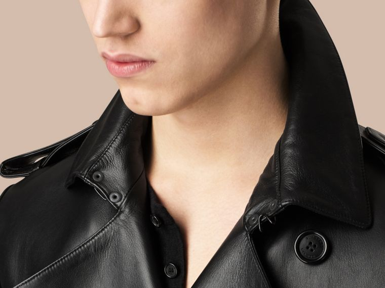 Black Mid-length Lambskin Trench Coat - cell image 4