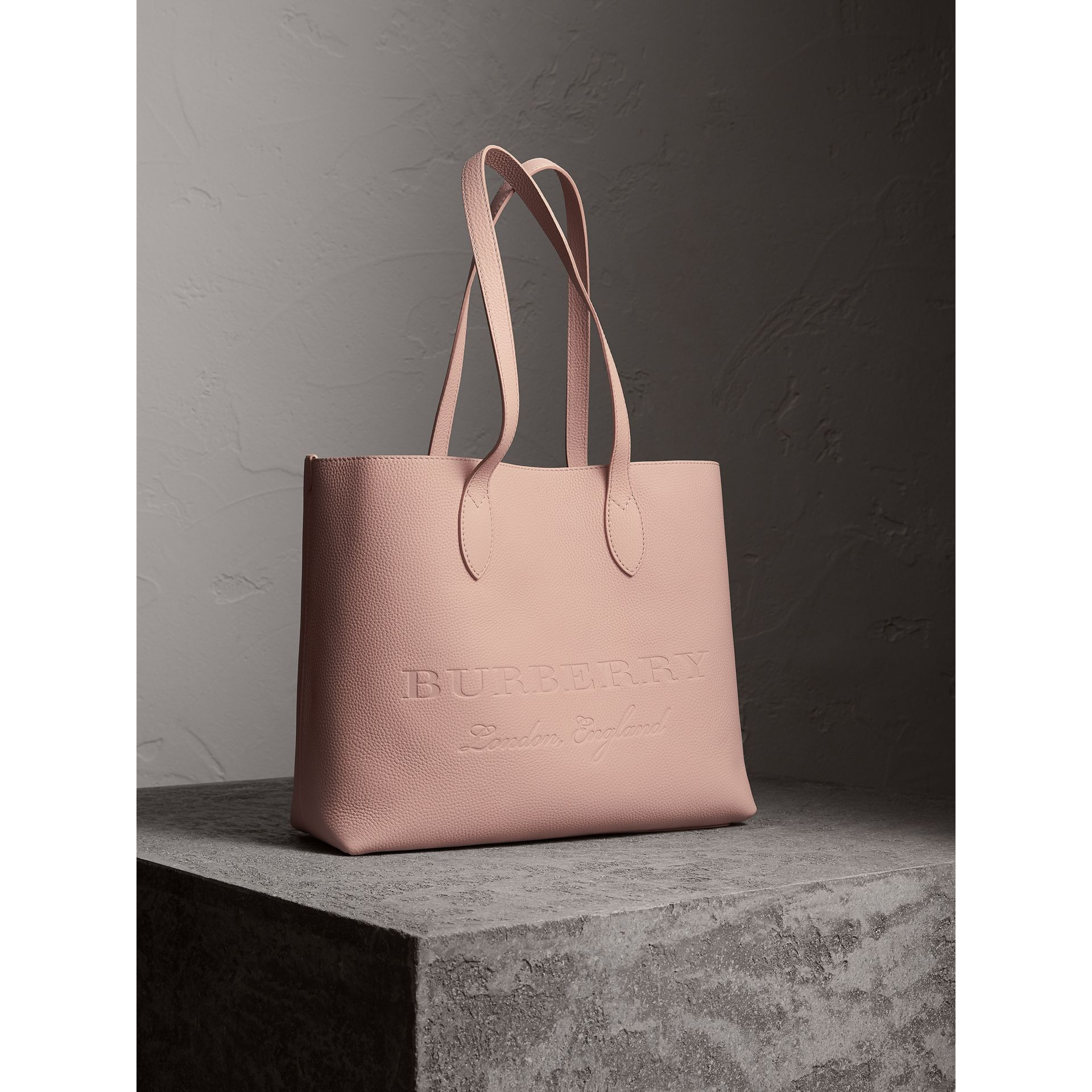 Large Embossed Leather Tote in Pale Ash Rose - Women | Burberry - gallery image 6