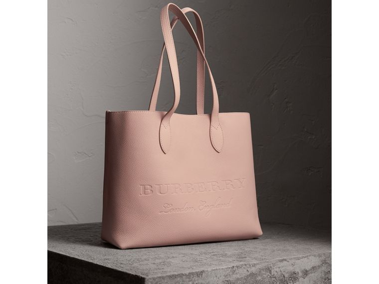 Large Embossed Leather Tote in Pale Ash Rose - Women | Burberry - cell image 4