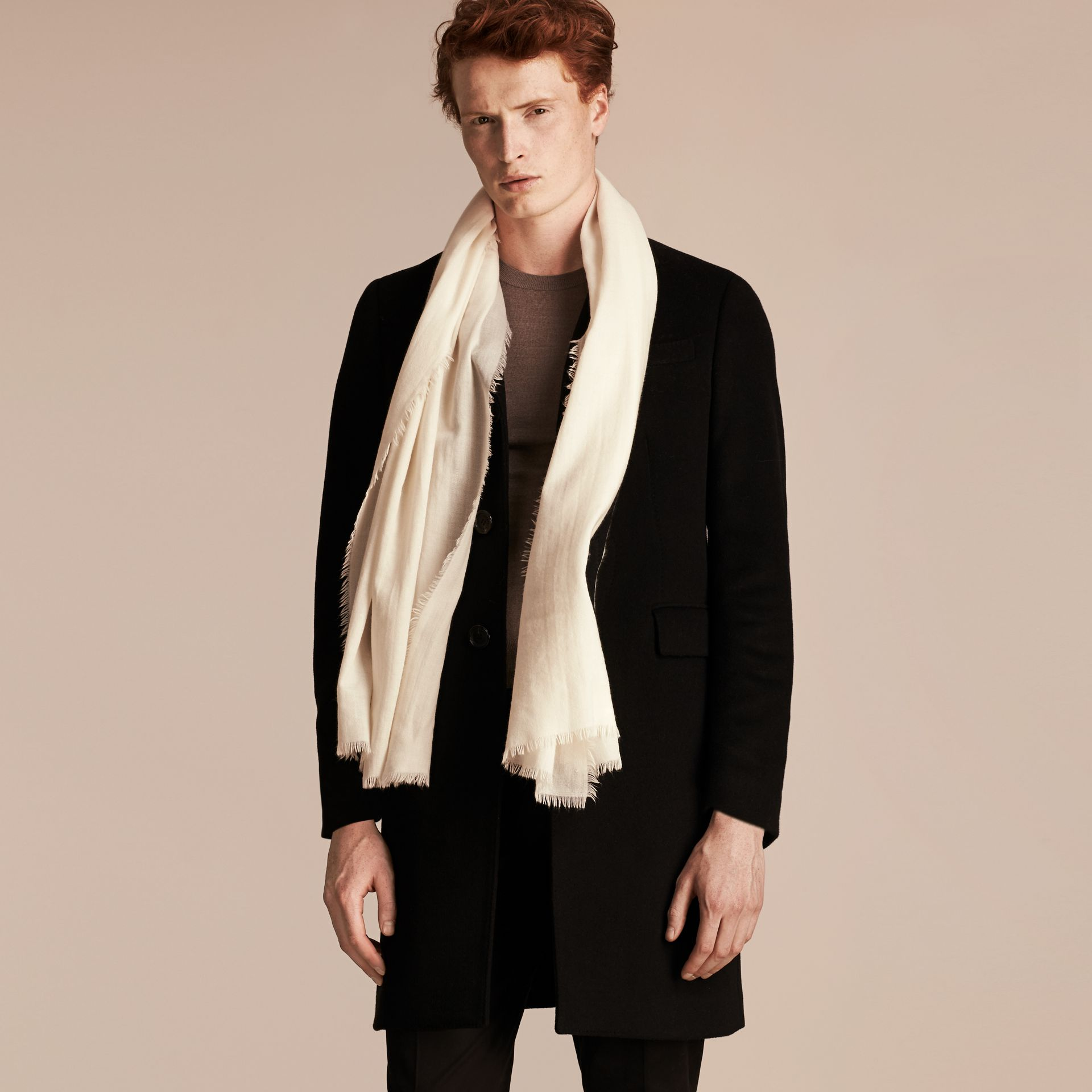 The Lightweight Cashmere Scarf Natural White - gallery image 4