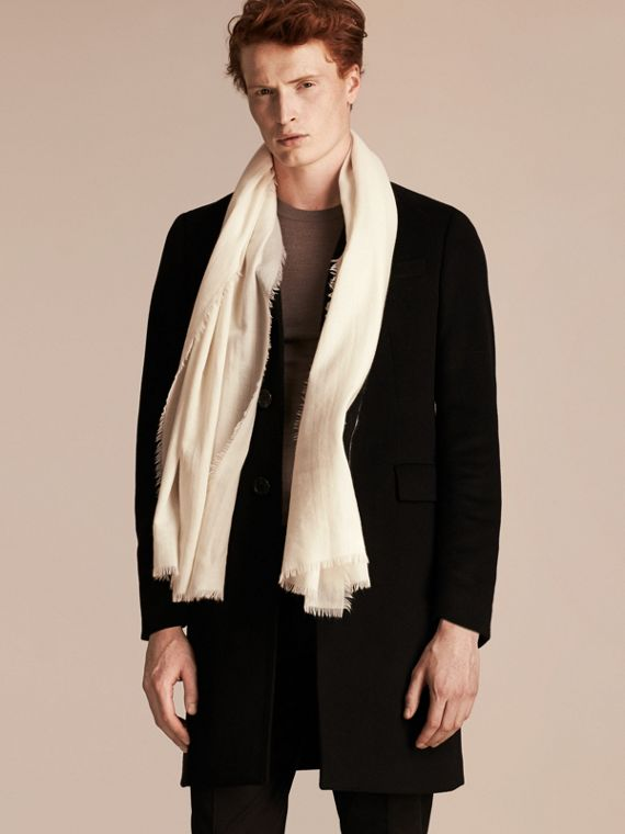 The Lightweight Cashmere Scarf in Natural White - cell image 3