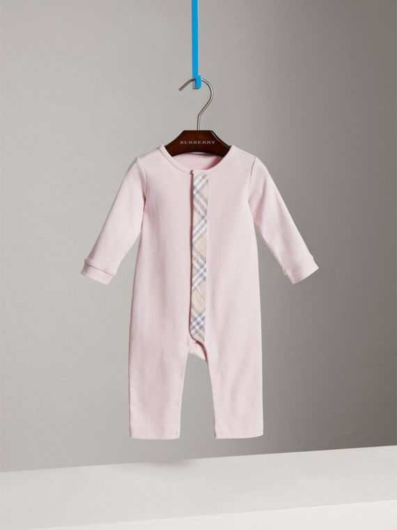 Check Trim Cotton Jumpsuit in Powder Pink | Burberry - cell image 2