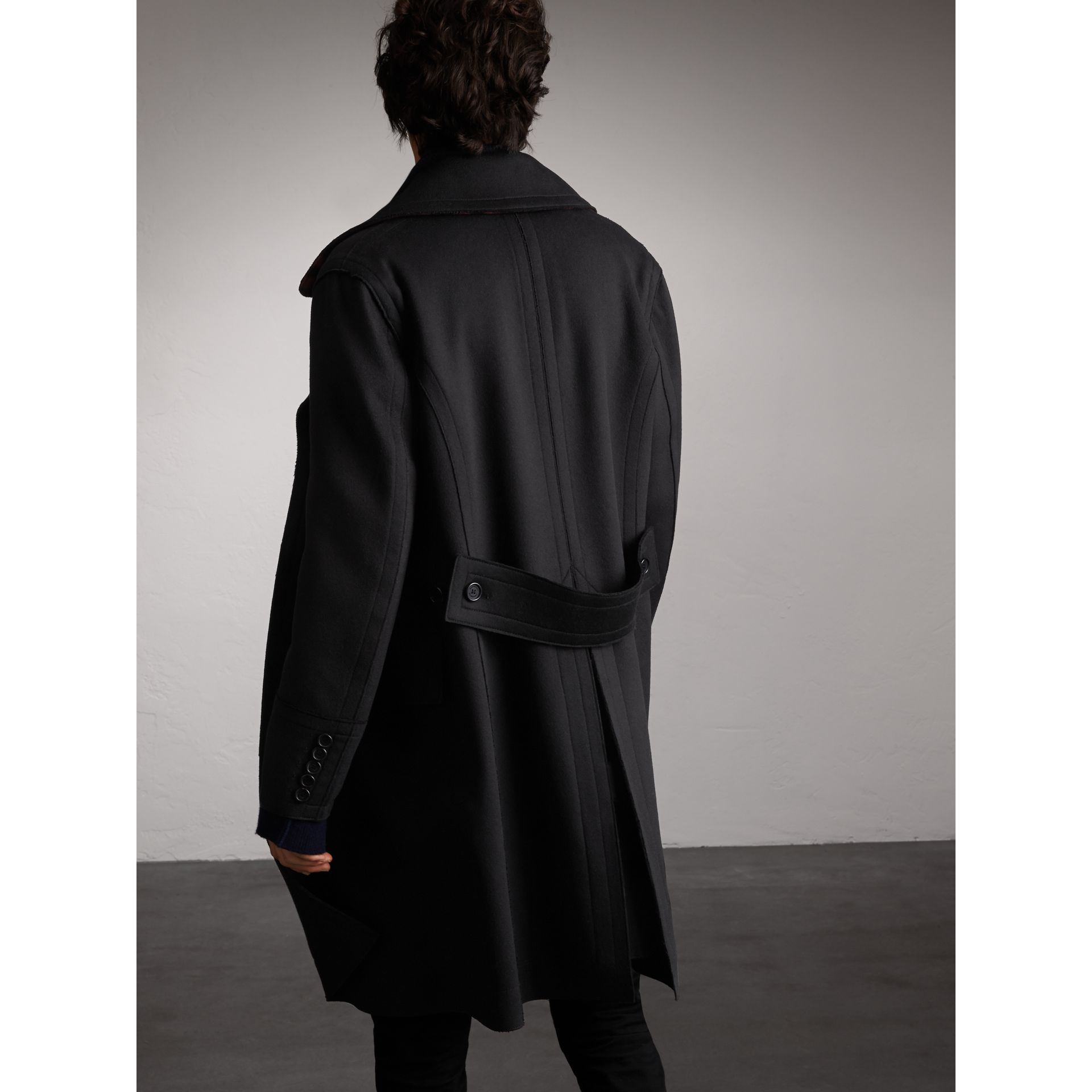 Resin Button Wool Greatcoat in Black - Men | Burberry - gallery image 3