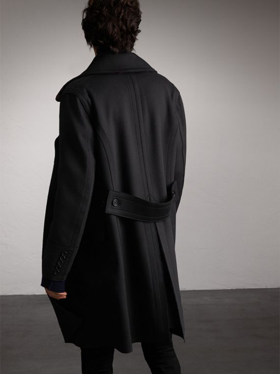 Resin Button Wool Greatcoat in Black - Men | Burberry Singapore - cell image 2