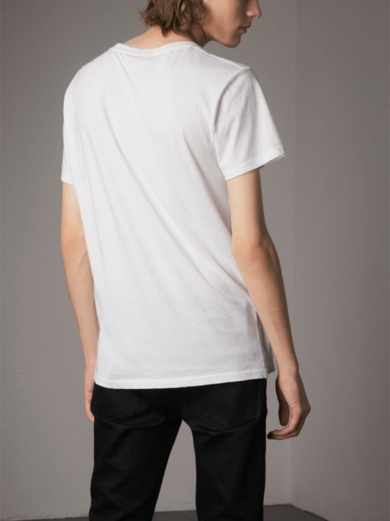 London Skyline Print Cotton T-shirt in White - Men | Burberry United Kingdom - cell image 2