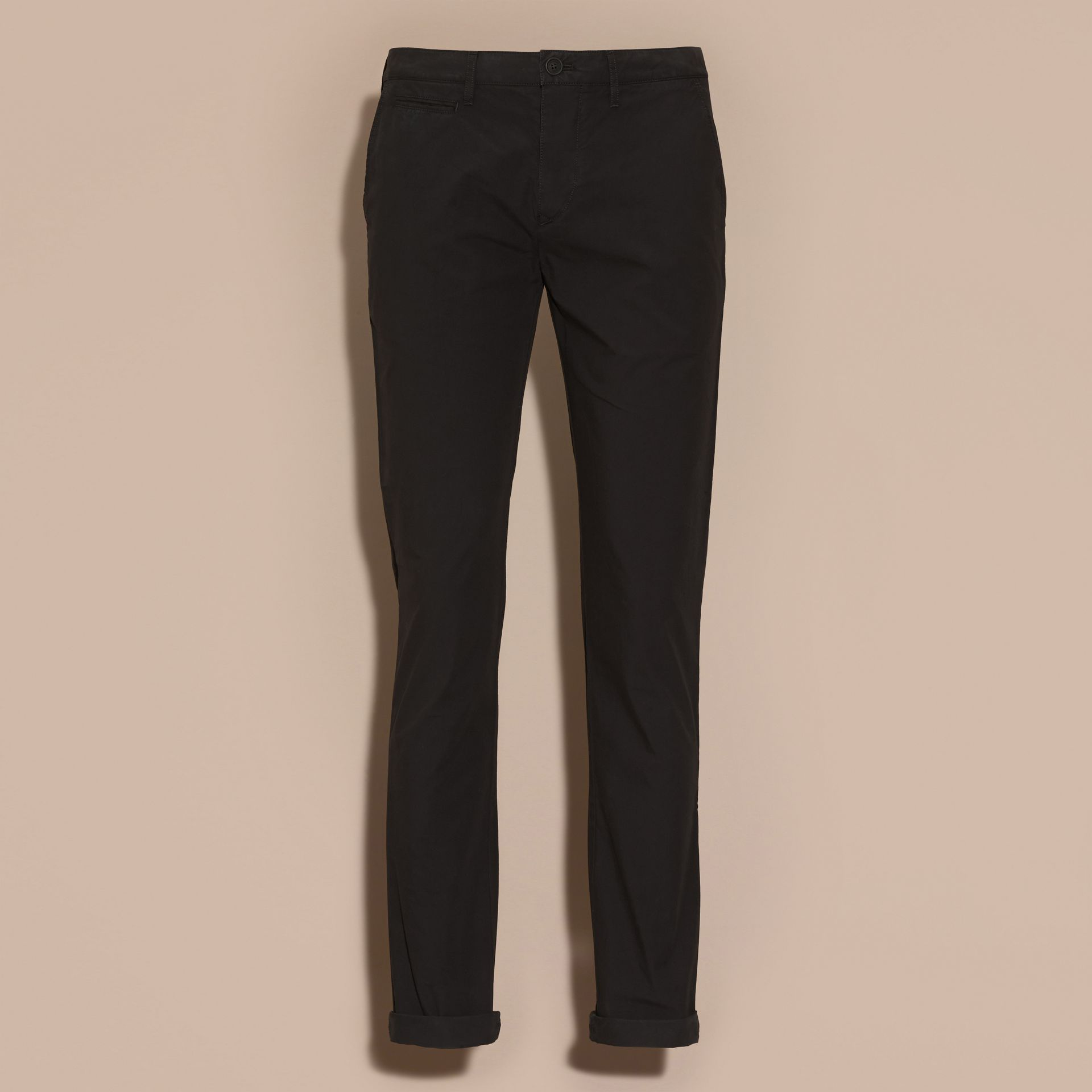 Slim Fit Cotton Poplin Chinos in Black - Men | Burberry - gallery image 4