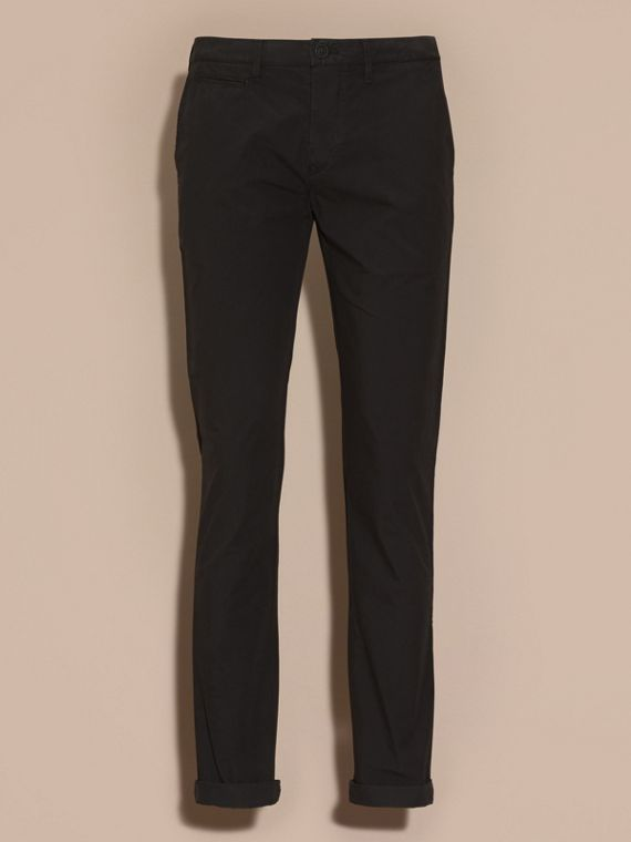 Slim Fit Cotton Poplin Chinos in Black - Men | Burberry - cell image 3