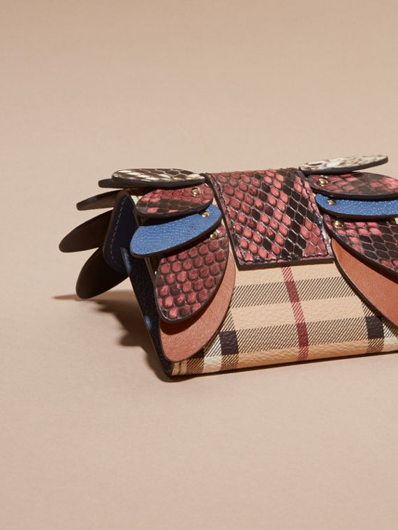 Snakeskin and Leather Haymarket Check Card Case - Women | Burberry - cell image 3
