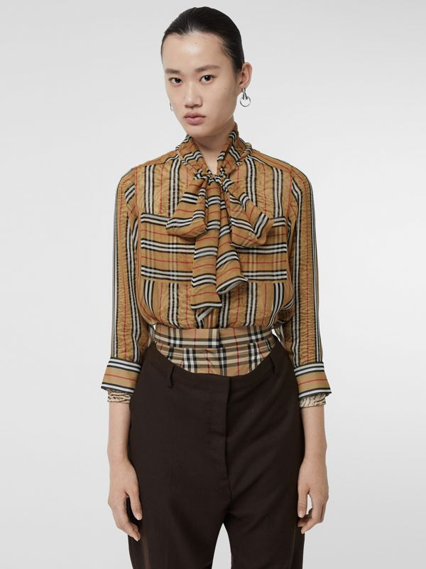 Icon Stripe Silk Pussy-bow Blouse in Antique Yellow - Women | Burberry - cell image 3