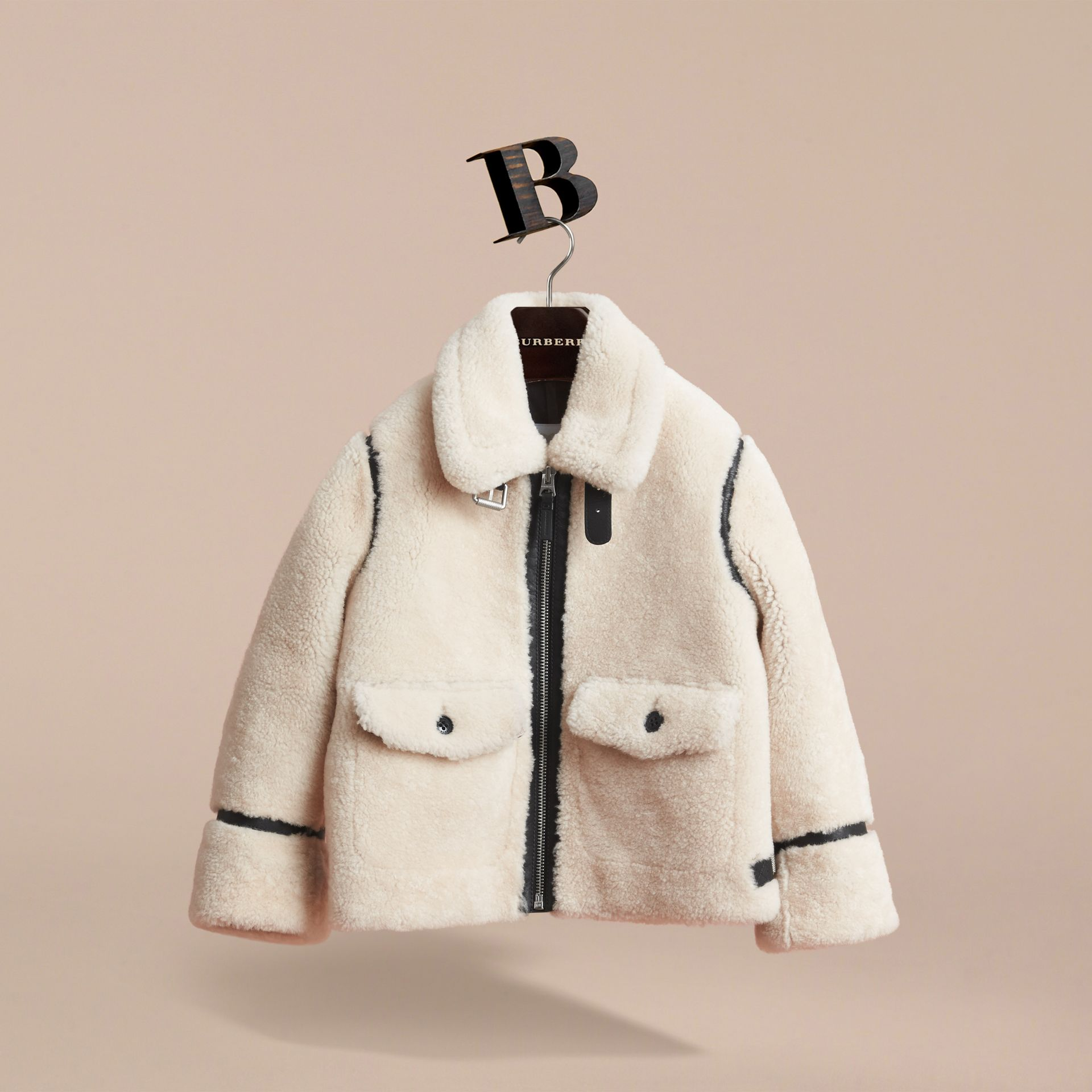 Leather Trim Shearling Aviator Jacket in Natural White - Boy | Burberry - gallery image 3