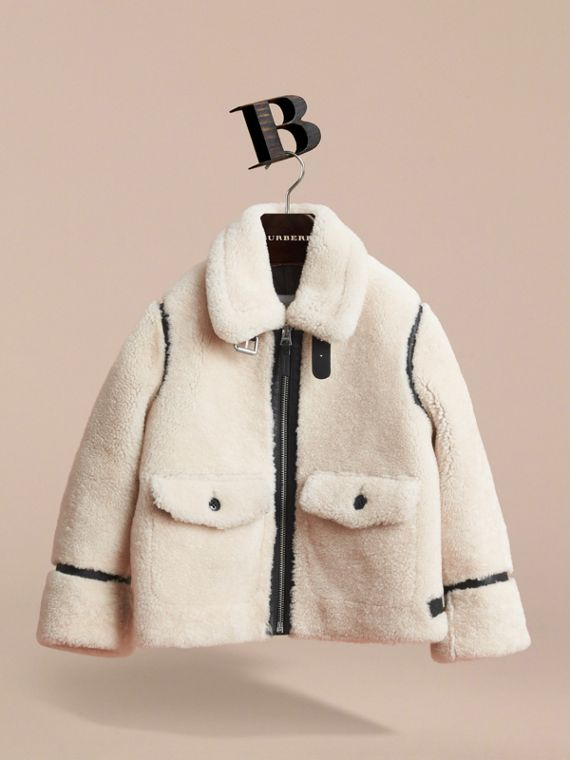 Leather Trim Shearling Aviator Jacket in Natural White - Boy | Burberry - cell image 2
