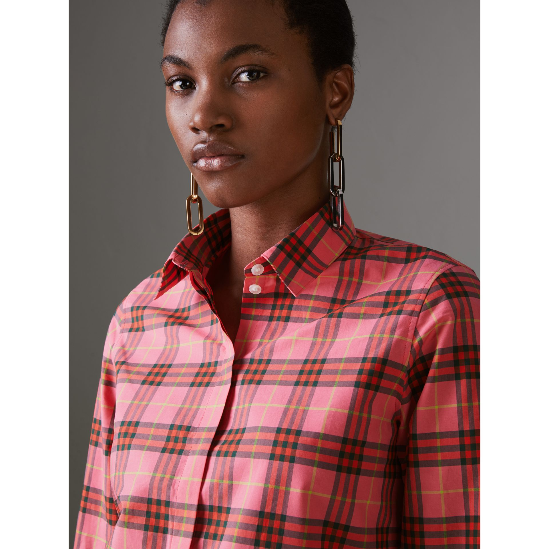 Check Cotton Shirt in Coral Red - Women | Burberry Singapore - gallery image 1