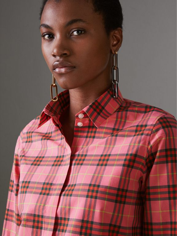 Check Cotton Shirt in Coral Red - Women | Burberry United Kingdom - cell image 1