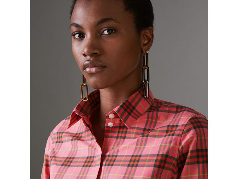Check Cotton Shirt in Coral Red - Women | Burberry - cell image 1