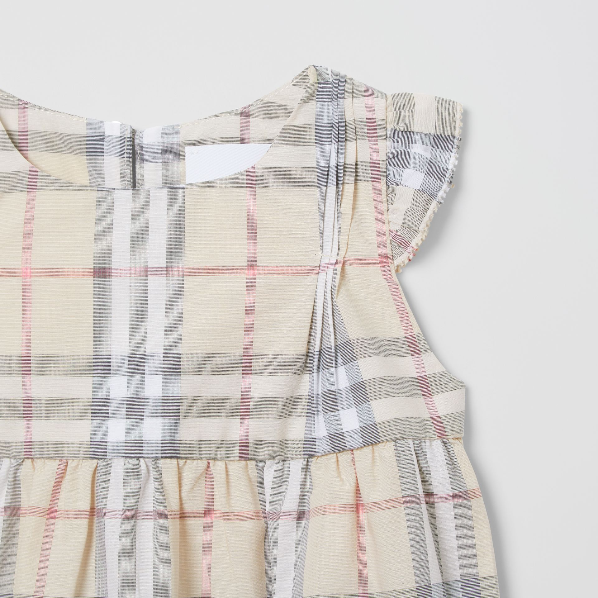 Ruffled Check Cotton Dress with Bloomers in Pale Stone - Children | Burberry - gallery image 5