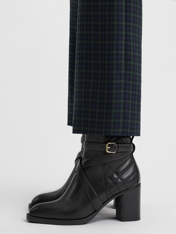 Strap Detail Quilted Leather Ankle Boots in Black - Women | Burberry - cell image 2