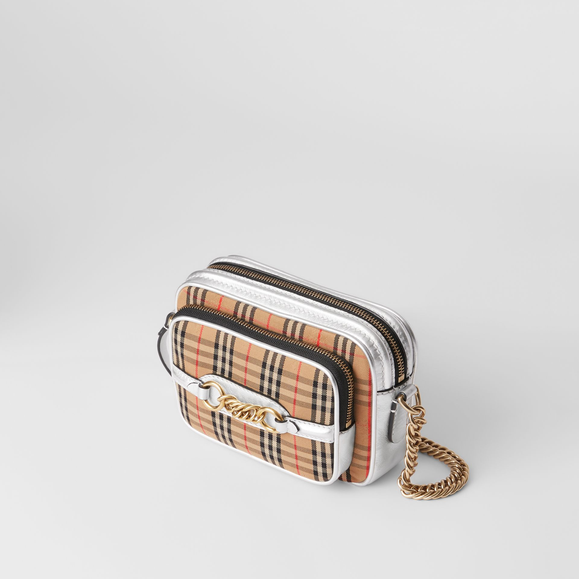 The 1983 Check Link Camera Bag in Silver - Women | Burberry Australia - gallery image 4