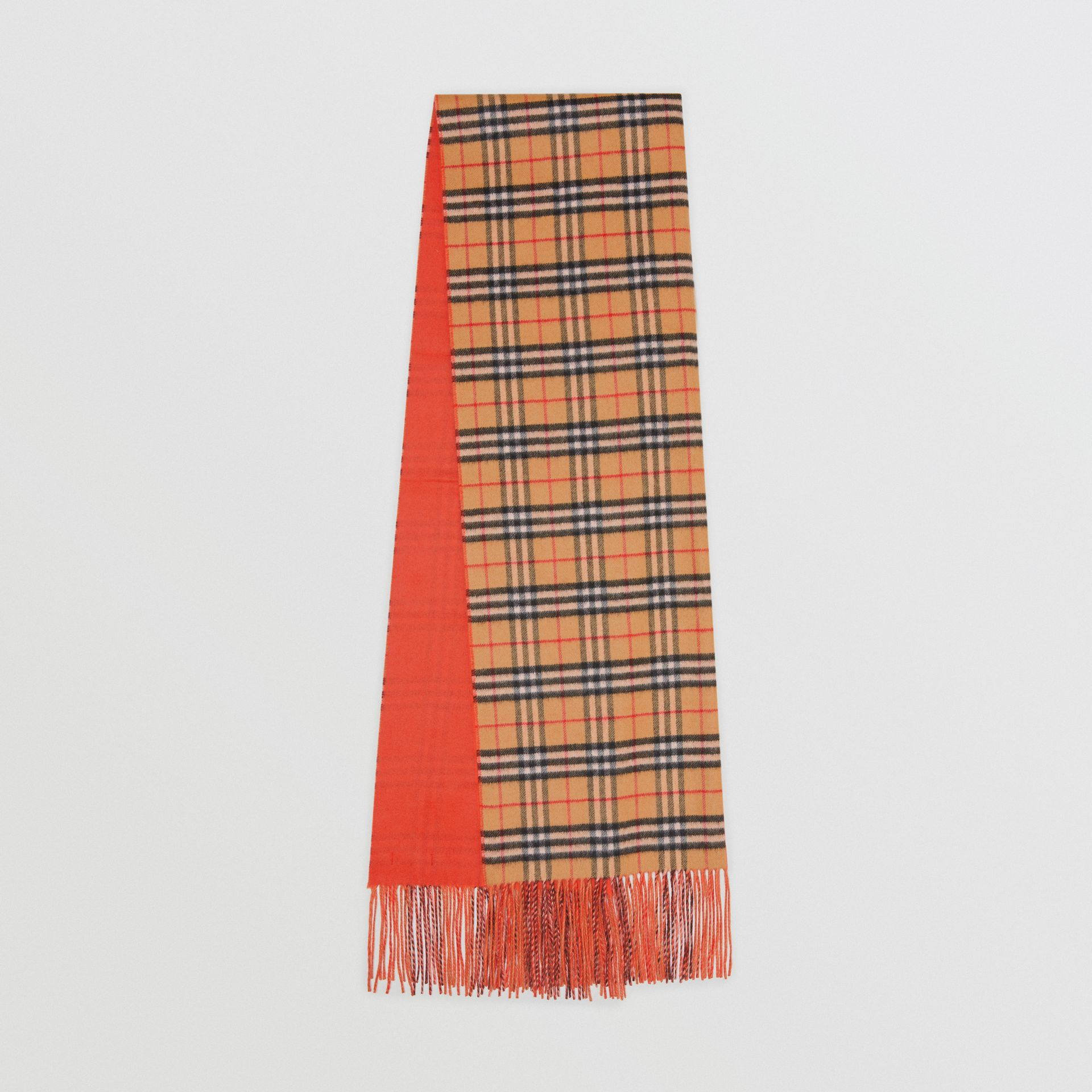 Colour Block Vintage Check Cashmere Scarf in Vibrant Orange | Burberry - gallery image 0