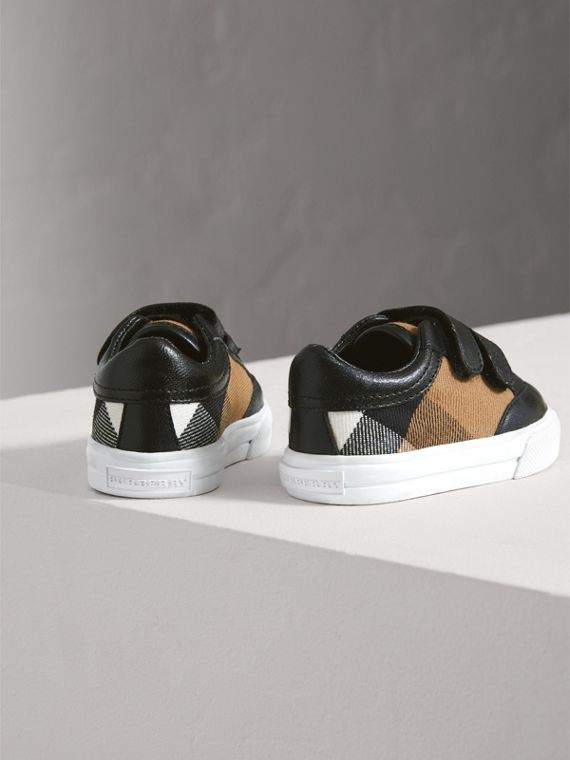 House Check and Leather Trainers in Black | Burberry United Kingdom - cell image 2