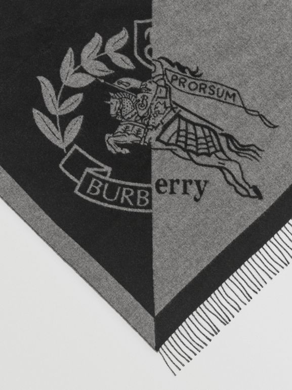 The Burberry Bandana in Crest Detail Wool Cashmere in Mid Grey | Burberry - cell image 1