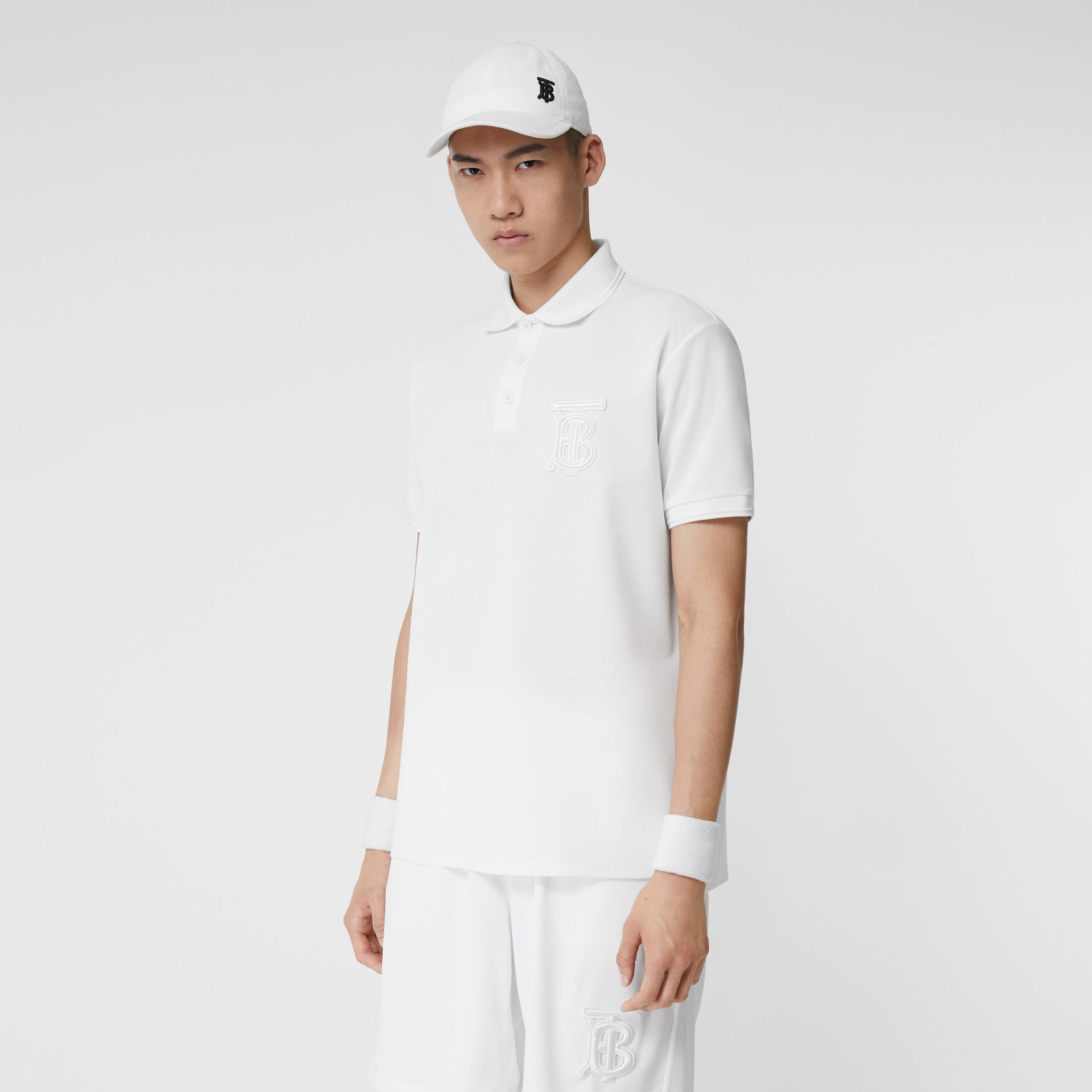 Monogram Motif Cotton Piqué Oversized Polo Shirt in White - Men | Burberry - gallery image 3