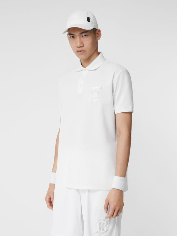 Monogram Motif Cotton Piqué Oversized Polo Shirt in White - Men | Burberry United Kingdom - cell image 3