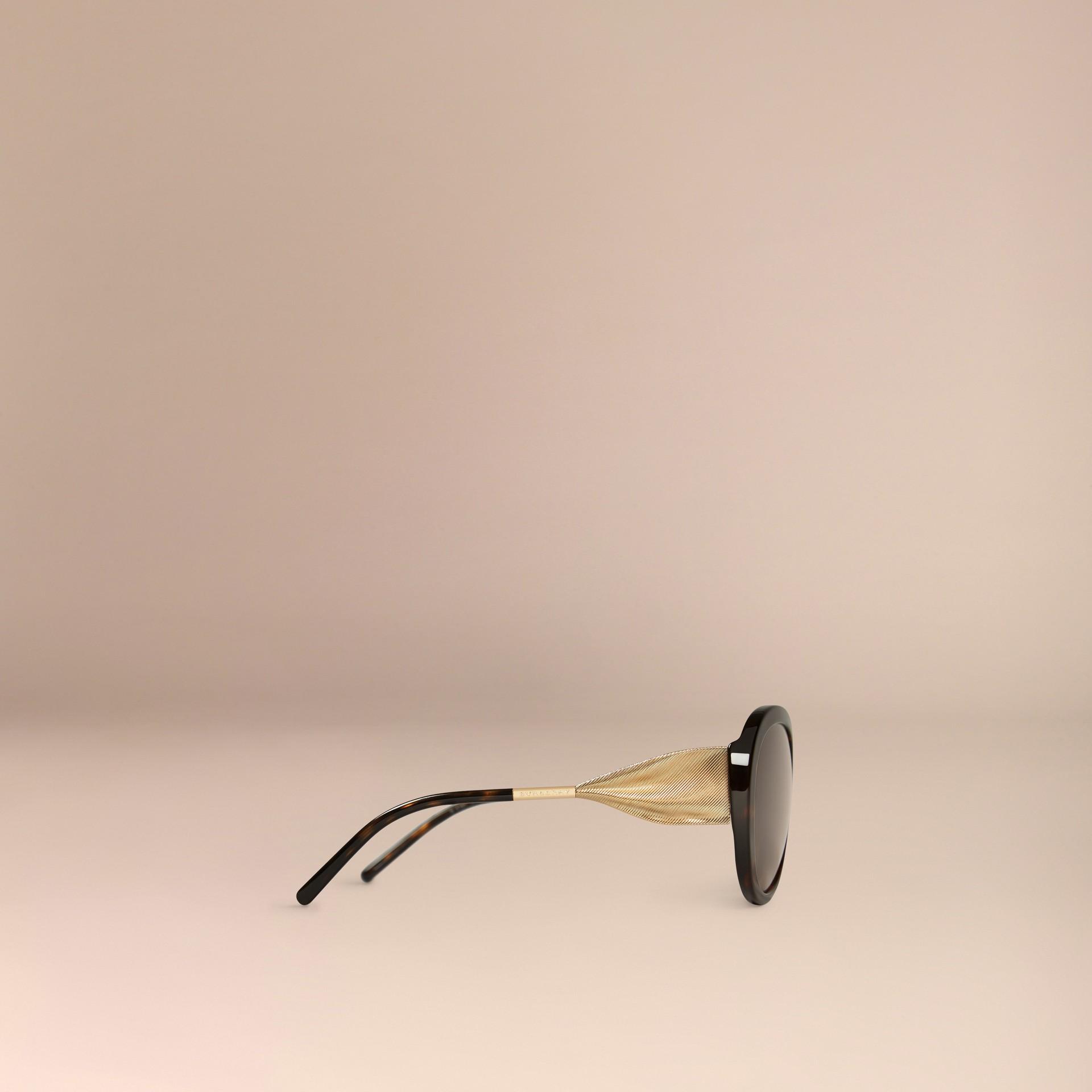 Ebano Occhiali da sole oversize con montatura tonda collezione Gabardine Ebano - immagine della galleria 5