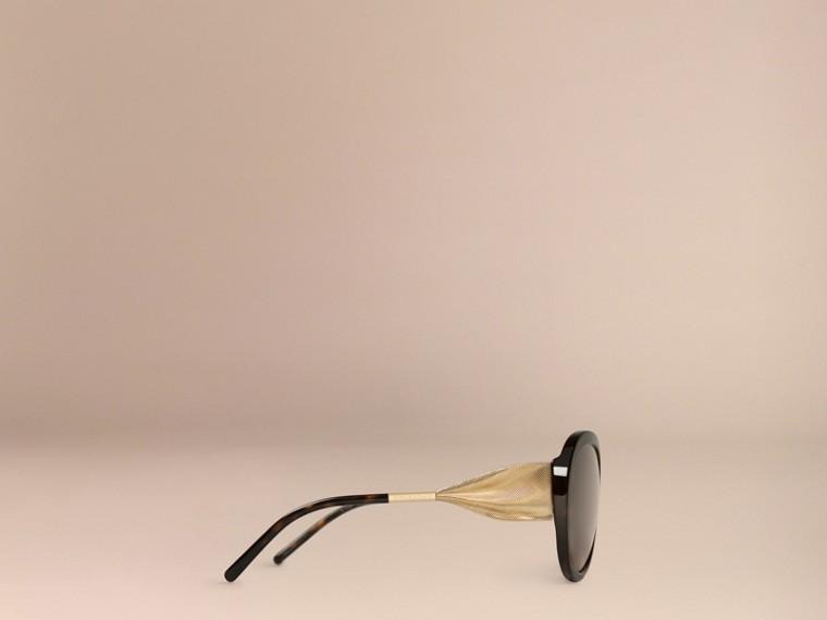 Ebony Gabardine Collection Oversize Round Frame Sunglasses Ebony - cell image 4
