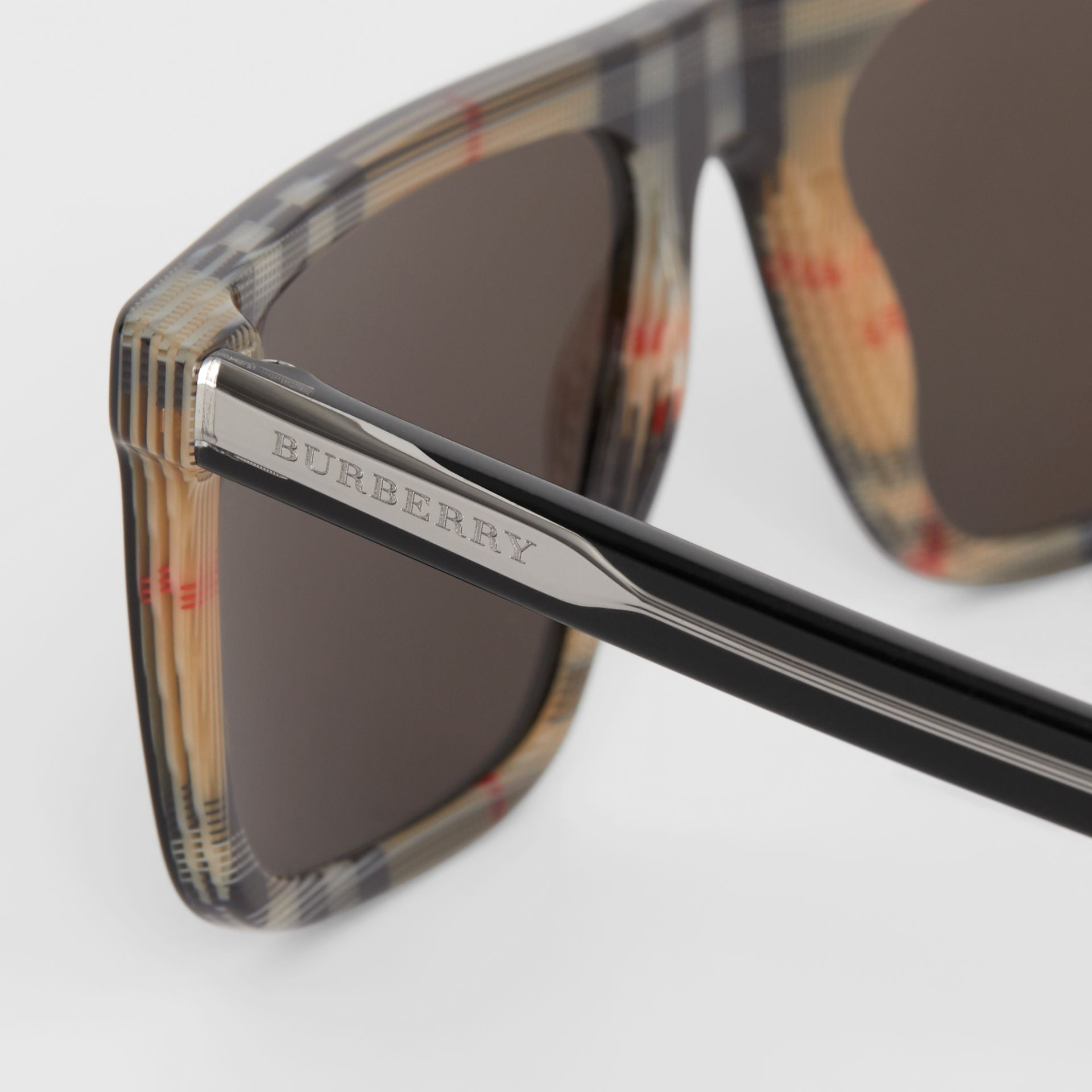 Vintage Check Detail Straight-brow Sunglasses in Black - Men | Burberry Canada - gallery image 1