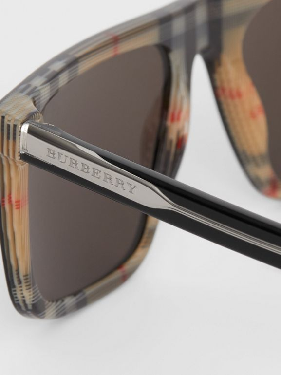 Vintage Check Detail Straight-brow Sunglasses in Black - Men | Burberry Canada - cell image 1