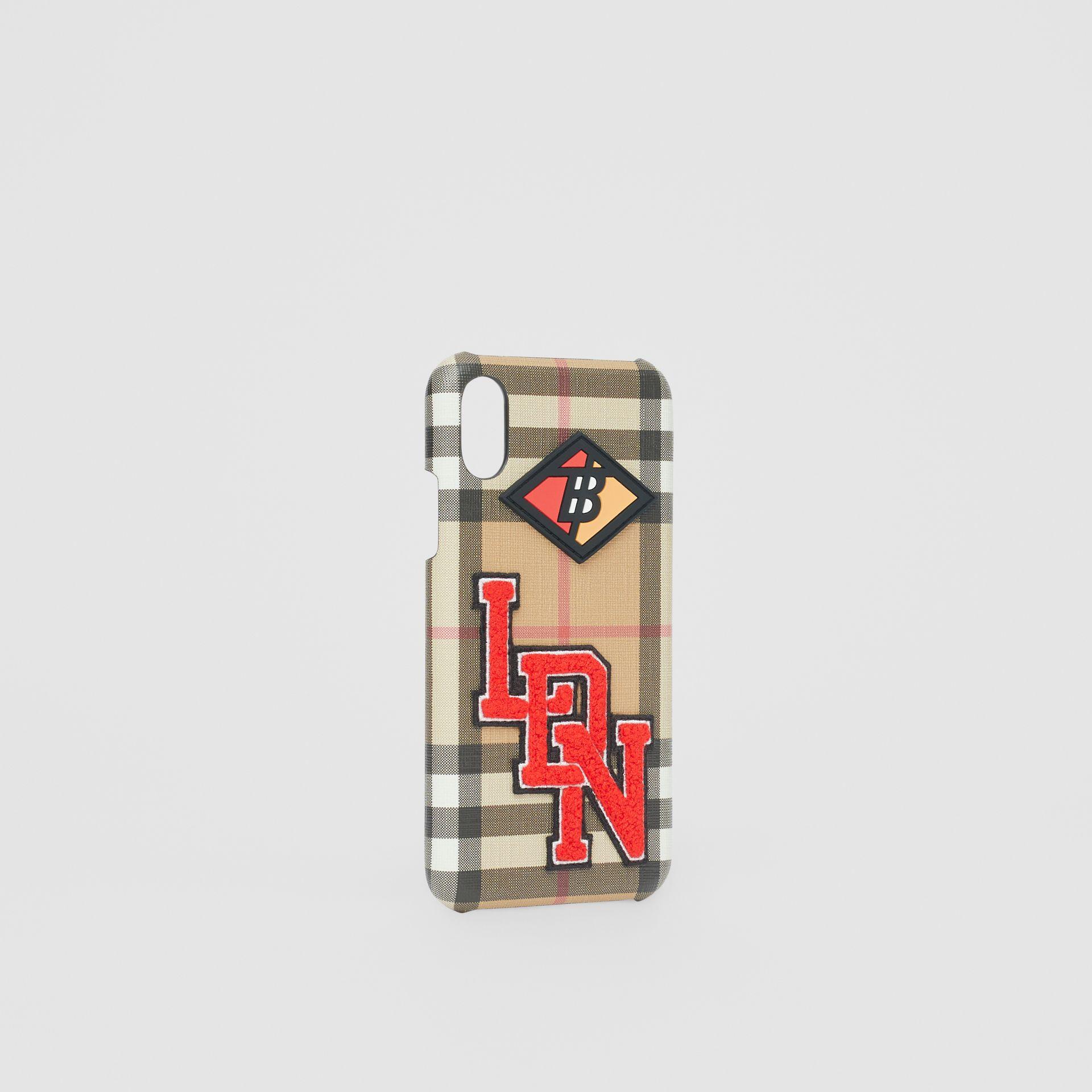 Logo Graphic Vintage Check iPhone X/XS Case in Archive Beige - Women | Burberry Singapore - gallery image 2